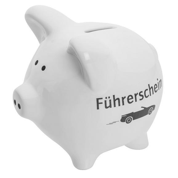 Spardose Piggy in Weiß/führerschein - Weiß/Grau, Keramik (14/11,7/13cm) - MÖMAX modern living