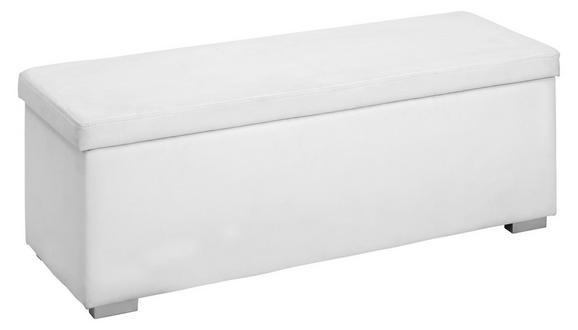 Truhenbank Weiß - Silberfarben/Weiß, Holz/Holzwerkstoff (112/40/39cm) - Modern Living