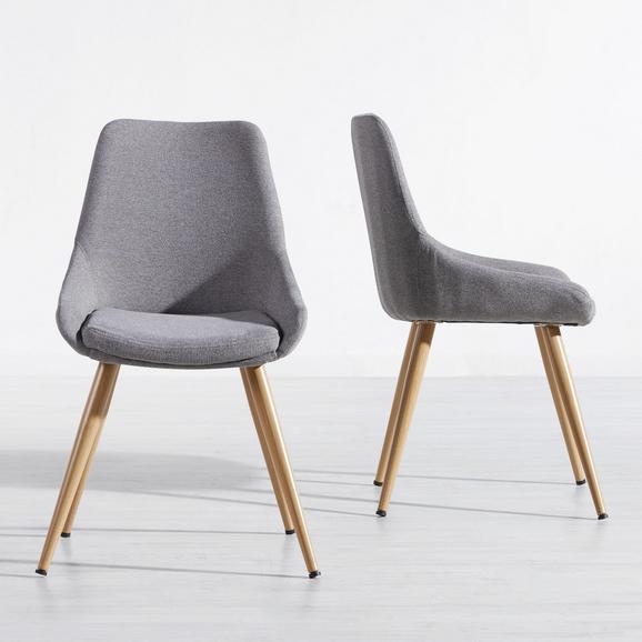 Stuhl Simone - Buchefarben/Grau, MODERN, Holz/Textil (48/85/55cm) - Mömax modern living