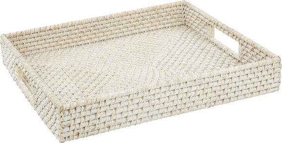 Tablett Florentine in Weiß - Weiß, ROMANTIK / LANDHAUS, Holz (44/7/37cm) - ZANDIARA