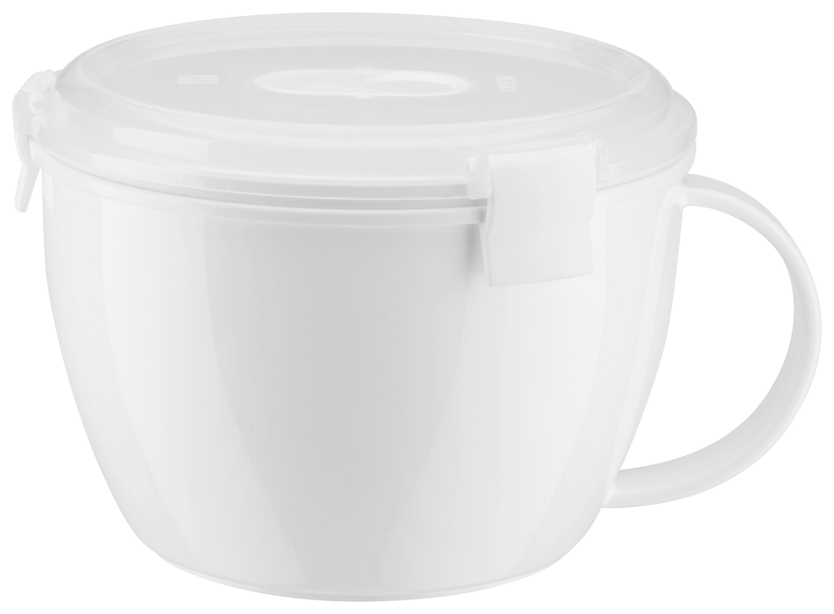 Mikrowellendose Mikka in Weiß, ca. 940ml - Transparent/Weiß, Kunststoff (0,94l) - MÖMAX modern living