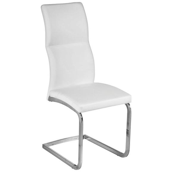 Schwingstuhl in Weiß - Chromfarben/Weiß, MODERN, Textil/Metall (42,5/103/56,5cm) - Modern Living