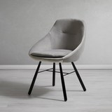 Stuhl Goldie - Hellgrau/Schwarz, MODERN, Holz/Textil (51,5/84/53,5cm) - Modern Living