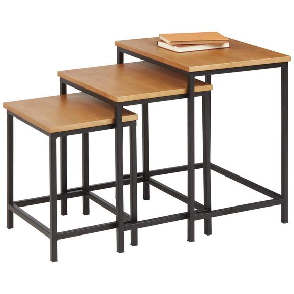 Beistelltischset in Braun/Schwarz, 3-teilig - Schwarz/Braun, LIFESTYLE, Holz/Holzwerkstoff - Modern Living