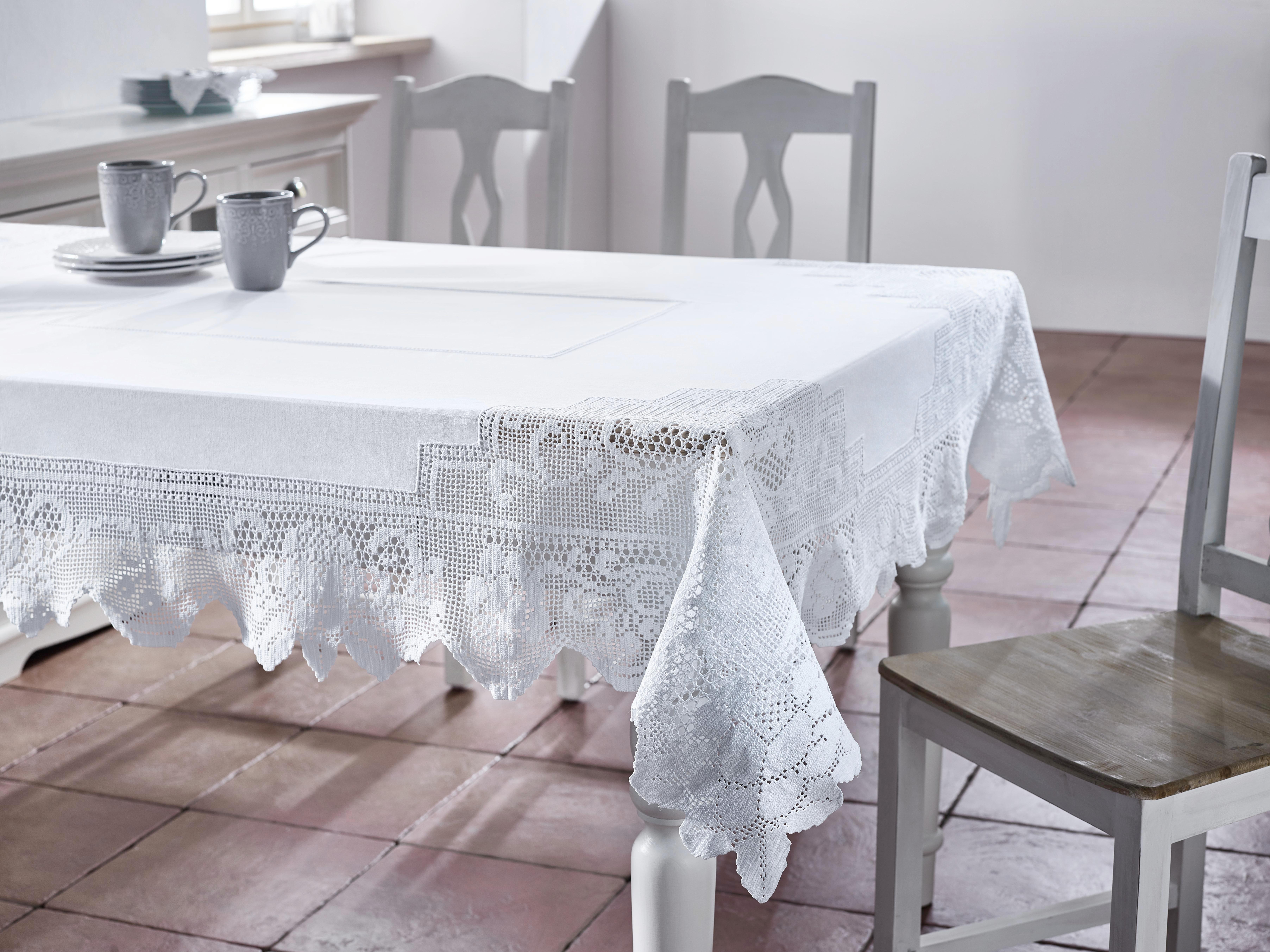 Tischdecke Constance 130x170cm - Weiß, KONVENTIONELL, Textil (130/170cm) - MÖMAX modern living