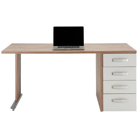 Schreibtisch in Weiß/Eichefarben - Edelstahlfarben/Eichefarben, MODERN, Glas/Holzwerkstoff (160/73,00/80cm) - Premium Living