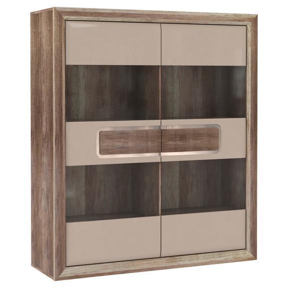 Vitrină Tiziano - bej/culoare lemn stejar, Modern, plastic/sticlă (133,7/155,4/43,5cm)