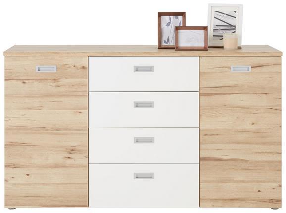 Kommode in Eiche/Weiß - Eichefarben/Alufarben, KONVENTIONELL, Holzwerkstoff/Kunststoff (149,8/85,6/41,3cm) - Premium Living