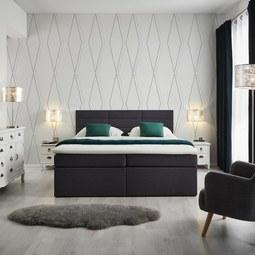 Boxspringbett Lisa 180x200 cm inkl. Topper - Dunkelgrau, MODERN, Holz/Textil (205/186/103cm) - Modern Living