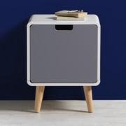Nachttisch Daniela - Weiß/Grau, Holz (39,8/50/38cm) - Modern Living