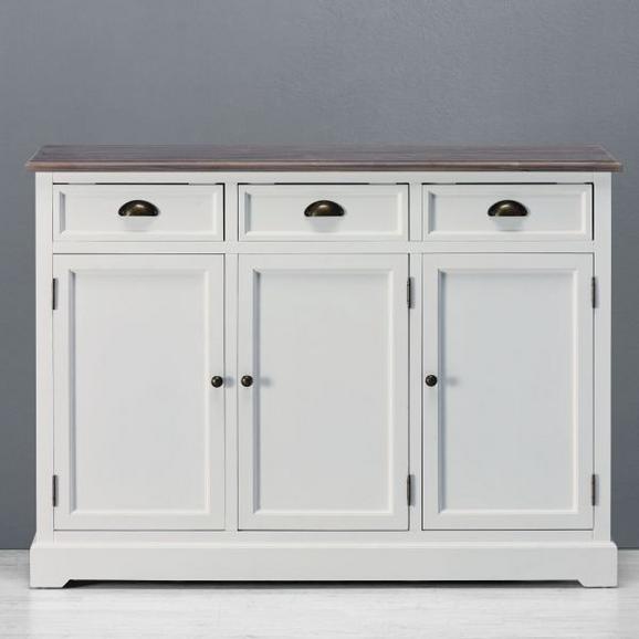 SIDEBOARD in Weiß/Kieferfarben 'Cookie' - Weiß/Kieferfarben, Holz/Metall (120/88/37cm) - Bessagi Home