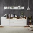 Sideboard Weiß/Eiche - Edelstahlfarben/Weiß, MODERN, Holzwerkstoff/Metall (215/84/42cm) - Premium Living