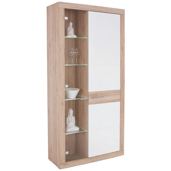 Vitrină Malta - alb/culoare lemn stejar, Modern (96/197/35cm)