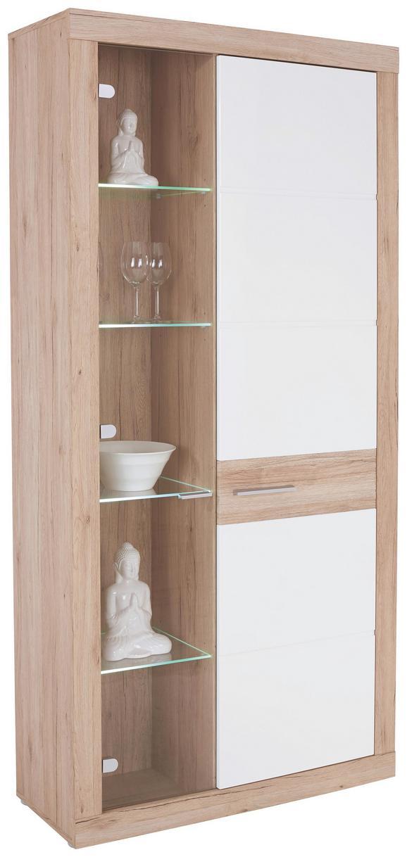 Vitrină Malta - Alb/Culoare stejar, Modern (96/197/35cm)