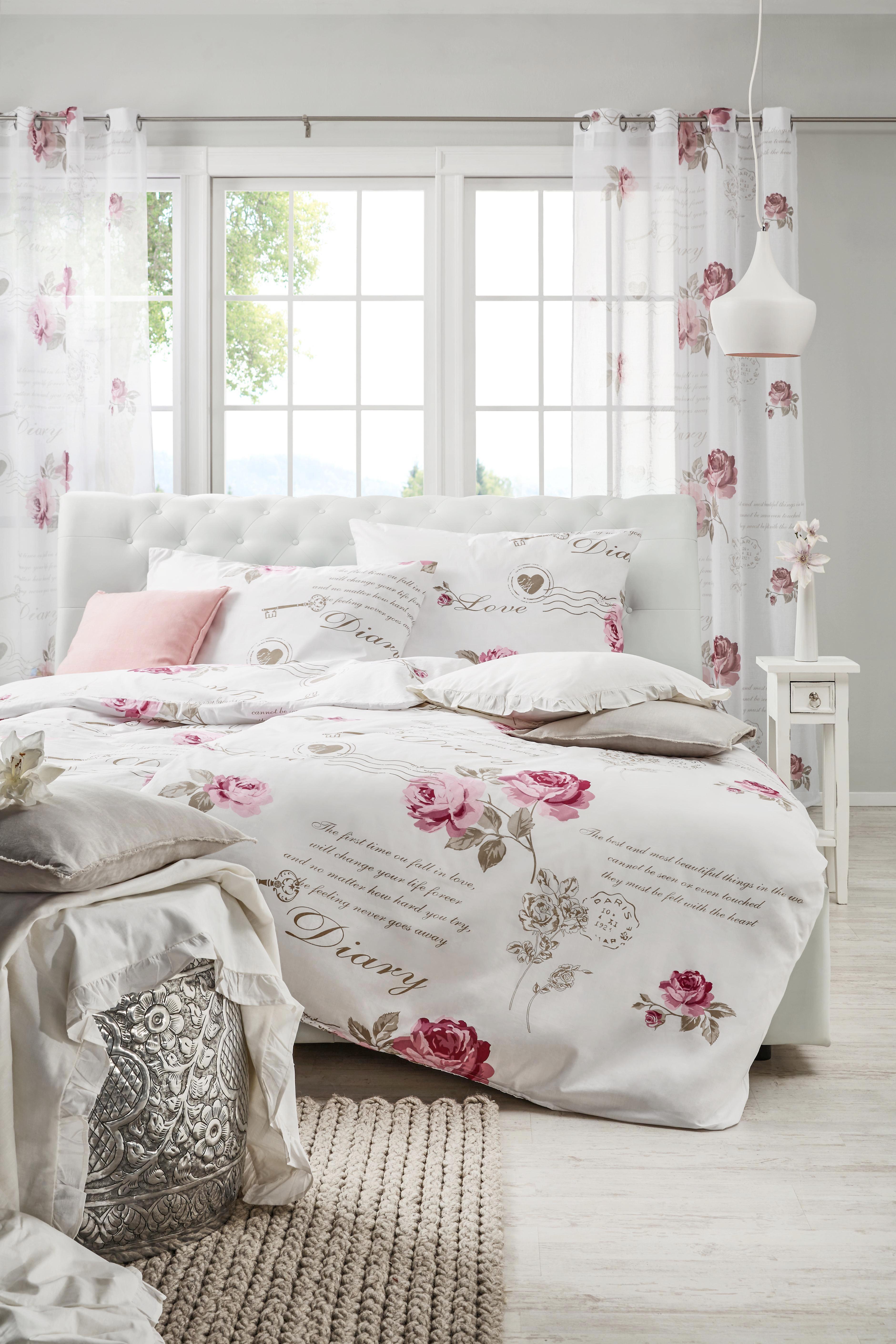 Ösenschal Dairy Rose ca. 140x245cm - Weiß, ROMANTIK / LANDHAUS, Textil (140/245cm) - MÖMAX modern living