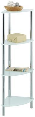 Regal Fina 4 - bela/krom, Moderno, kovina/steklo (29/100/29cm) - Mömax modern living