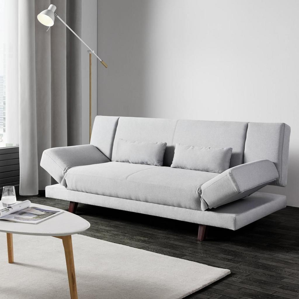 Sofa mit Schlaffunktion in Hellgrau 'Faith'