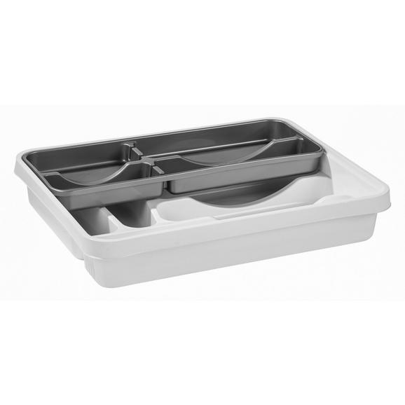 Besteckeinsatz Grau/Weiß - Weiß/Grau, Kunststoff (39.5/7/30.5cm) - Mömax modern living