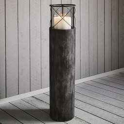 Windlicht Lox - Dunkelgrau, MODERN, Metall (23/100cm)