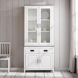 Kredenz Liana - Weiß/Grau, MODERN, Glas/Holz (92/203/40cm) - Mömax modern living