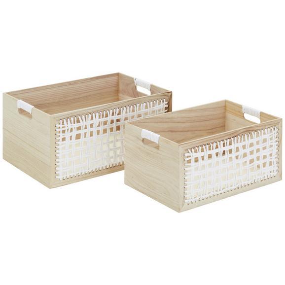 Aufbewahrungsboxen-Set Nora Naturfarben/Weiß 2er Set - Naturfarben/Weiß, MODERN, Holzwerkstoff (46/40,5/30,5/35,5/23/20,5cm) - Mömax modern living