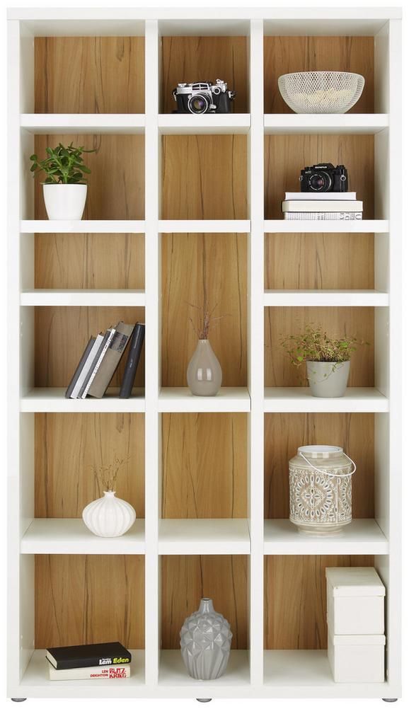 Regal Weiß/Eichefarben - Eichefarben/Weiß, MODERN, Holzwerkstoff/Kunststoff (107/192/37cm)