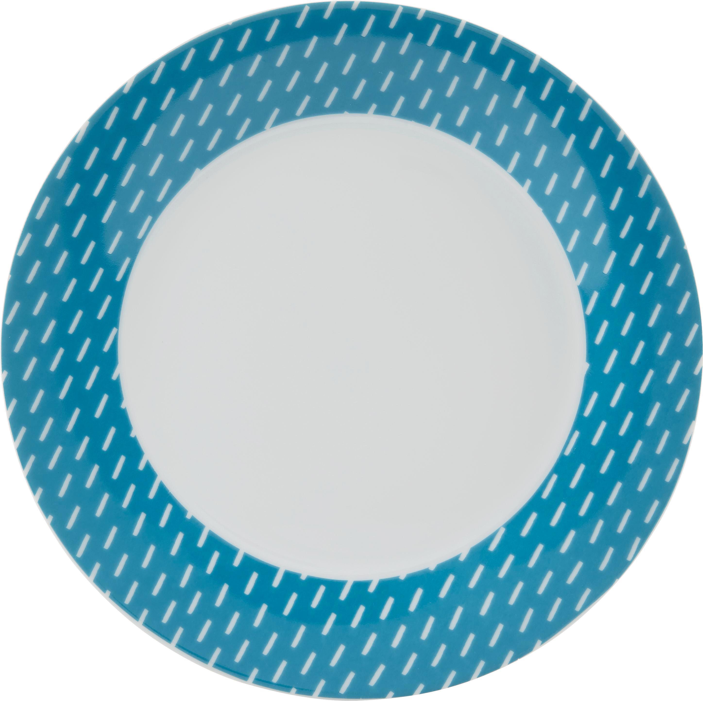 Desertni Krožnik Shelly - turkizna/bela, keramika (20,32cm) - MÖMAX modern living