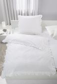 Bettwäsche Rüschen Weiß 140x200cm - Weiß, ROMANTIK / LANDHAUS, Textil (140/200cm) - Zandiara