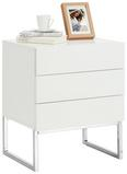 Nachtkästchen Weiß/silberfarben - Silberfarben/Weiß, MODERN, Holzwerkstoff/Metall (50/60/40cm) - Premium Living
