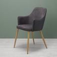 Armlehnstuhl Chrisi - Dunkelgrau, MODERN, Textil/Metall (58/86/58cm) - MODERN LIVING