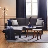 Sofa in Grau mit Bettfunktion inkl. Ottomane - Dunkelgrau/Schwarz, MODERN, Holz/Textil (223/88,5/81cm) - Bessagi Home