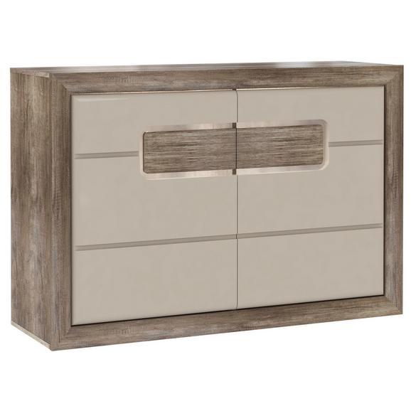 Comodă Tiziano - bej/culoare lemn stejar, Modern, plastic/compozit lemnos (133,8/91,4/43,5cm)