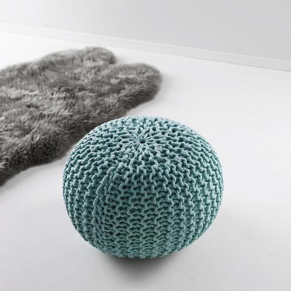 Pouf in Mint  Ø ca. 50 'Martin' - Blau, MODERN, Textil (50/50/30cm) - Bessagi Home