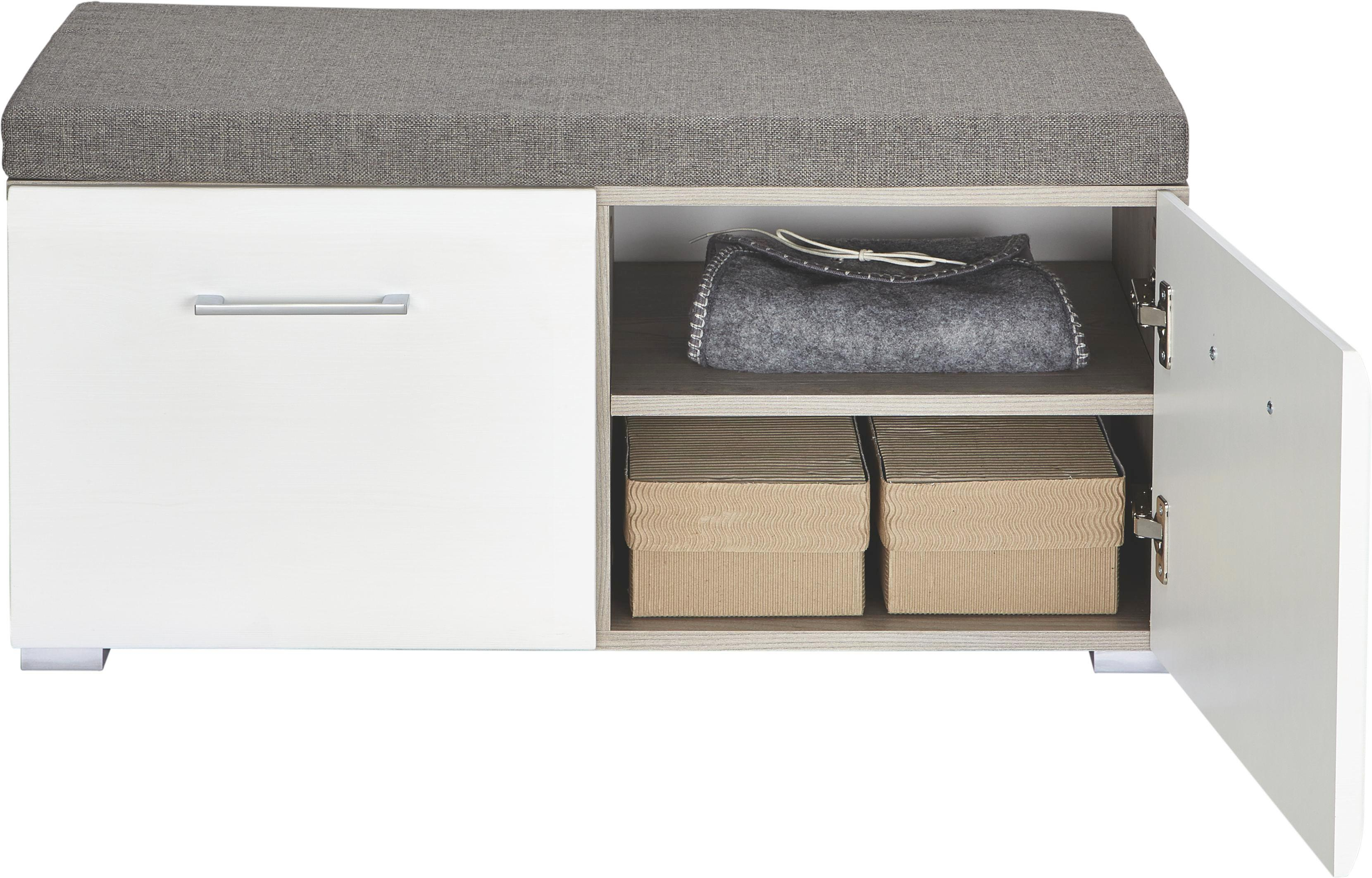 Garderobenbank in Silbereiche/Weiß - Chromfarben/Silberfarben, MODERN, Holz/Kunststoff (85/38/38cm) - PREMIUM LIVING