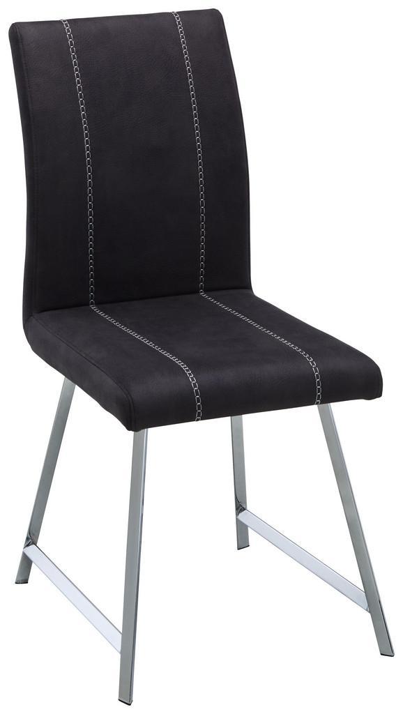 Stuhl Grau - Chromfarben/Weiß, MODERN, Textil/Metall (43/93/56cm) - Modern Living