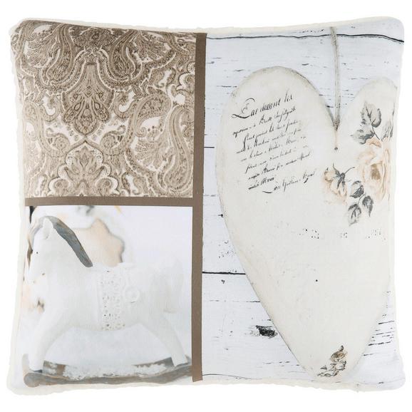 Okrasna Blazina Patchwork - svetlo rjava/bela, Romantika, tekstil (40/40cm) - Mömax modern living