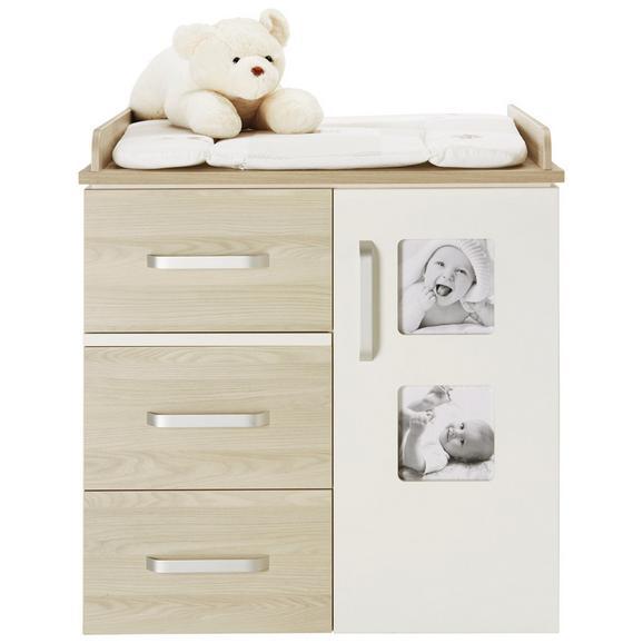 Wickelkommode Weiß/Naturfarben - Silberfarben, KONVENTIONELL, Holzwerkstoff/Metall (94/102/78cm) - Premium Living