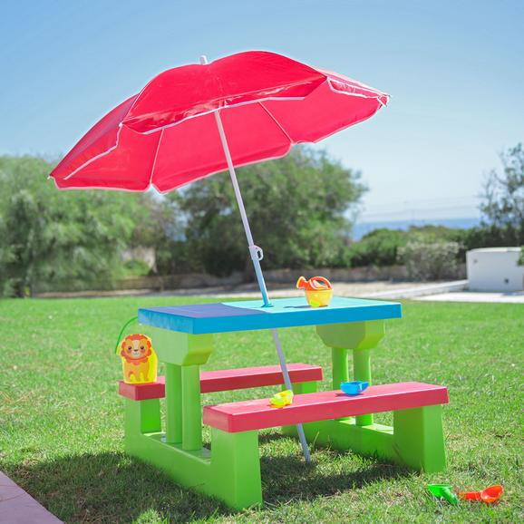 Kinder - Gartentisch aus Kunststoff inkl. Schirm - Blau/Rot, Kunststoff/Textil (67/47/78,5cm) - Modern Living