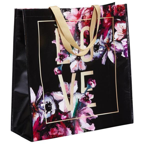 Einkaufstasche Love & Flowers aus Kunststoff - Dunkelrosa/Violett, MODERN, Kunststoff (45/47/17,5cm) - Mömax modern living