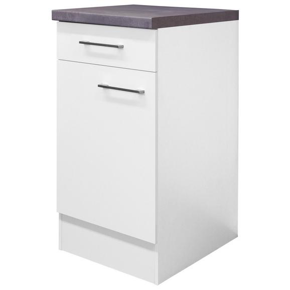 Küchenunterschrank Weiß - Edelstahlfarben/Weiß, MODERN, Holzwerkstoff/Metall (40/86/60cm)