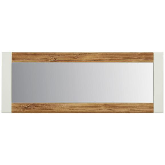 Ogledalo Leonardo - bela/hrast, Moderno, steklo/leseni material (60/160/2cm) - Modern Living