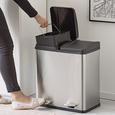 Coș Menajer Trash - argintiu/negru, Modern, plastic/metal (46,3/37,1/52,6cm) - Premium Living