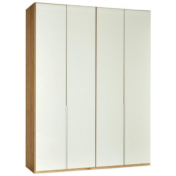 Kleiderschrank in Weißglas - Zinkfarben/Weiß, Holzwerkstoff/Metall (180/208/58cm) - Premium Living