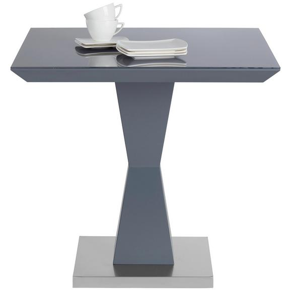 Esstisch in Grau aus Edelstahl - Edelstahlfarben/Grau, MODERN, Glas/Holzwerkstoff (80/76/80cm) - Modern Living
