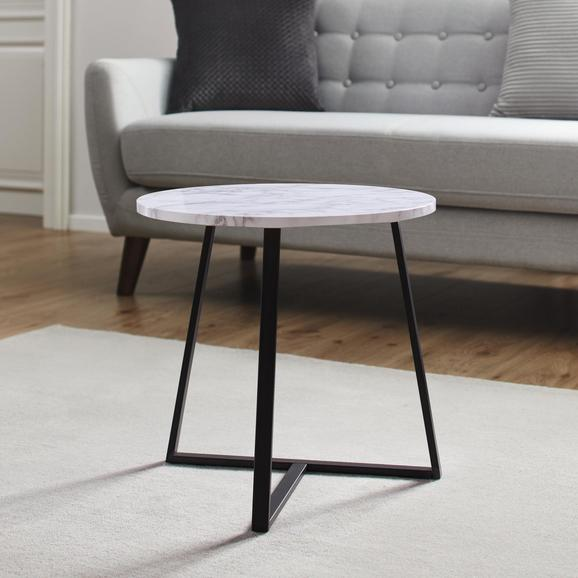 Couchtisch Silvia Ø ca. 45 cm - Schwarz/Weiß, MODERN, Holzwerkstoff/Metall (45/45cm) - Modern Living