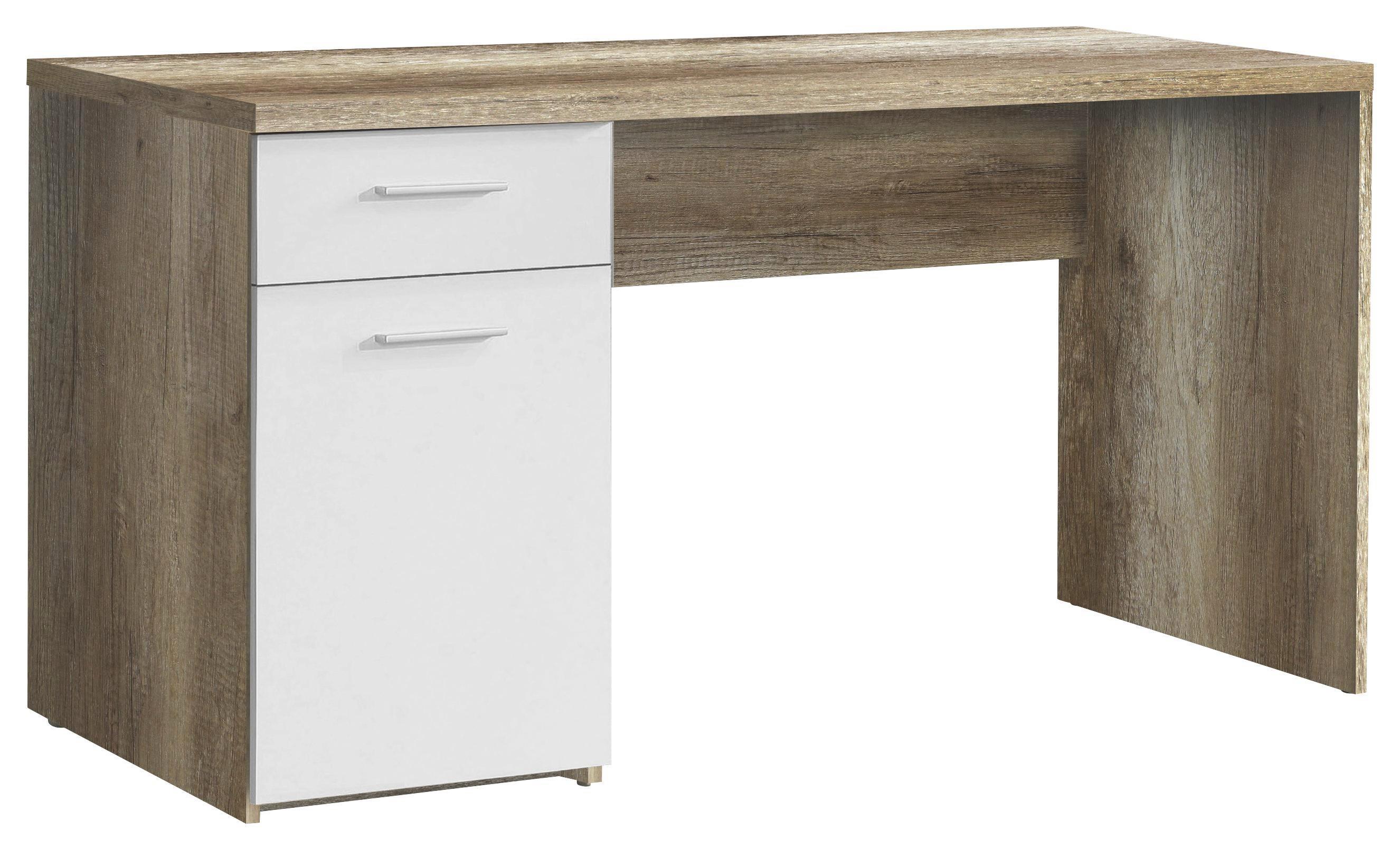 Íróasztal Net - tölgy színű/fehér, modern, fa (140/76,5/60cm)