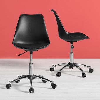 DREHSTUHL Nico mit gepolstertem Sitz - Chromfarben/Schwarz, MODERN, Kunststoff/Metall (58/80,5/64cm) - Modern Living