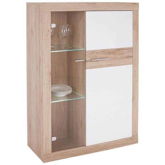 Vitrină Malta - alb/culoare lemn stejar, Modern, compozit lemnos (96/132/35cm)