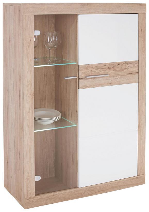 Vitrină Malta - Alb/Culoare stejar, Modern, Compozit lemnos (96/132/35cm)