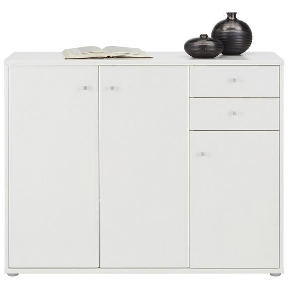 Sideboard in Weiß - Alufarben/Weiß, MODERN, Holzwerkstoff/Kunststoff (106,2/86/34cm)